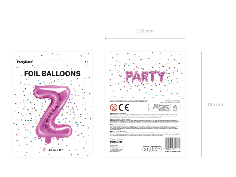 Balon Foliowy Litera Z 35cm Ciemny Różowy